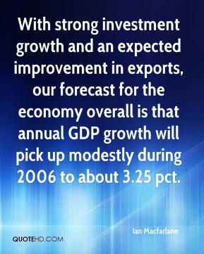 Ian Macfarlane - With strong investment growth and an expected improvement in exports, our forecast for the economy overall is that annual GDP growth will pick up modestly during 2006 to about 3.25 pct.
