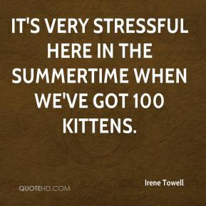 Irene Towell - It's very stressful here in the summertime when we've got 100 kittens.