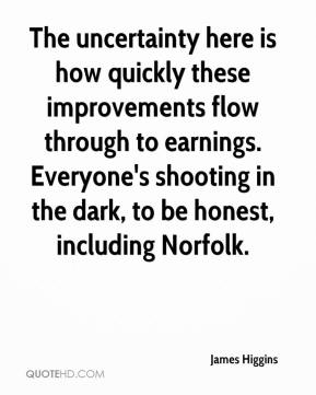 James Higgins - The uncertainty here is how quickly these improvements flow through to earnings. Everyone's shooting in the dark, to be honest, including Norfolk.