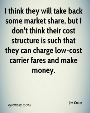 Jim Craun  - I think they will take back some market share, but I don't think their cost structure is such that they can charge low-cost carrier fares and make money.