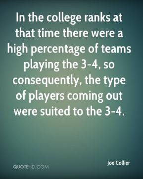 Joe Collier  - In the college ranks at that time there were a high percentage of teams playing the 3-4, so consequently, the type of players coming out were suited to the 3-4.