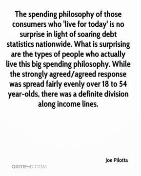 Joe Pilotta  - The spending philosophy of those consumers who 'live for today' is no surprise in light of soaring debt statistics nationwide. What is surprising are the types of people who actually live this big spending philosophy. While the strongly agreed/agreed response was spread fairly evenly over 18 to 54 year-olds, there was a definite division along income lines.