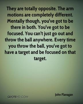 They are totally opposite. The arm motions are completely different. Mentally though, you've got to be there in both. You've got to be focused. You can't just go out and throw the ball anywhere. Every time you throw the ball, you've got to have a target and be focused on that target.