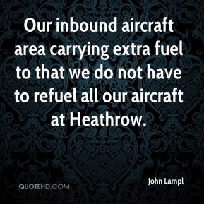 John Lampl  - Our inbound aircraft area carrying extra fuel to that we do not have to refuel all our aircraft at Heathrow.