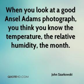 John Szarkowski  - When you look at a good Ansel Adams photograph, you think you know the temperature, the relative humidity, the month.