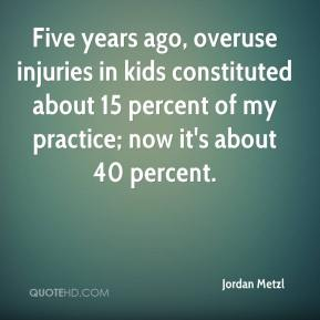 Jordan Metzl  - Five years ago, overuse injuries in kids constituted about 15 percent of my practice; now it's about 40 percent.