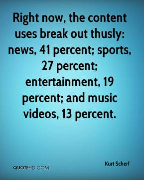 Kurt Scherf  - Right now, the content uses break out thusly: news, 41 percent; sports, 27 percent; entertainment, 19 percent; and music videos, 13 percent.