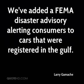 We've added a FEMA disaster advisory alerting consumers to cars that were registered in the gulf.