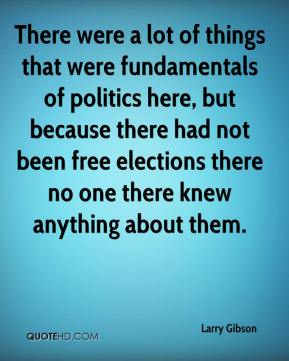 Larry Gibson  - There were a lot of things that were fundamentals of politics here, but because there had not been free elections there no one there knew anything about them.
