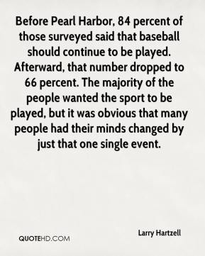 Larry Hartzell  - Before Pearl Harbor, 84 percent of those surveyed said that baseball should continue to be played. Afterward, that number dropped to 66 percent. The majority of the people wanted the sport to be played, but it was obvious that many people had their minds changed by just that one single event.