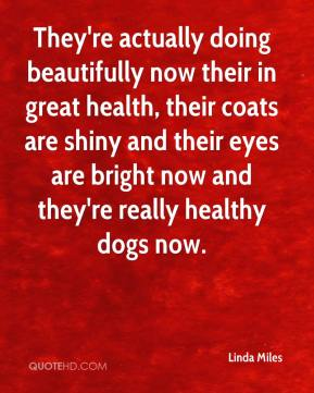 Linda Miles  - They're actually doing beautifully now their in great health, their coats are shiny and their eyes are bright now and they're really healthy dogs now.
