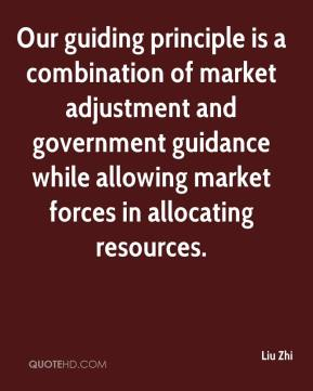 Our guiding principle is a combination of market adjustment and government guidance while allowing market forces in allocating resources.