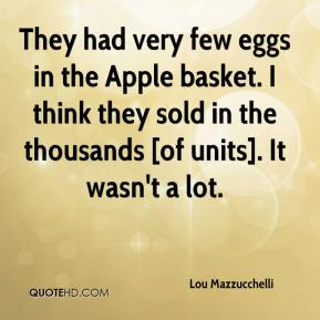Lou Mazzucchelli  - They had very few eggs in the Apple basket. I think they sold in the thousands [of units]. It wasn't a lot.
