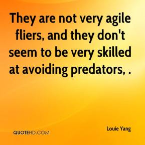 Louie Yang  - They are not very agile fliers, and they don't seem to be very skilled at avoiding predators, .