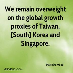 Malcolm Wood  - We remain overweight on the global growth proxies of Taiwan, [South] Korea and Singapore.