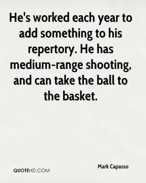 Mark Capasso  - He's worked each year to add something to his repertory. He has medium-range shooting, and can take the ball to the basket.
