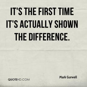 Mark Gurwell  - It's the first time it's actually shown the difference.