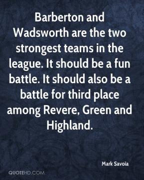 Barberton and Wadsworth are the two strongest teams in the league. It should be a fun battle. It should also be a battle for third place among Revere, Green and Highland.