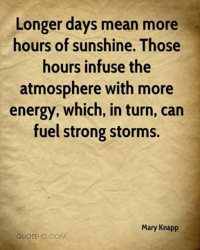 Mary Knapp  - Longer days mean more hours of sunshine. Those hours infuse the atmosphere with more energy, which, in turn, can fuel strong storms.