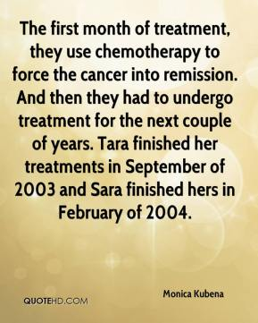 Monica Kubena  - The first month of treatment, they use chemotherapy to force the cancer into remission. And then they had to undergo treatment for the next couple of years. Tara finished her treatments in September of 2003 and Sara finished hers in February of 2004.