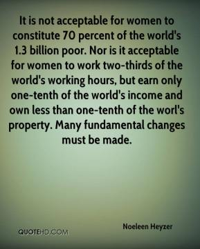 It is not acceptable for women to constitute 70 percent of the world's 1.3 billion poor. Nor is it acceptable for women to work two-thirds of the world's working hours, but earn only one-tenth of the world's income and own less than one-tenth of the worl's property. Many fundamental changes must be made.