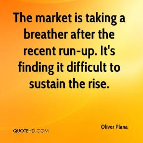 Oliver Plana  - The market is taking a breather after the recent run-up. It's finding it difficult to sustain the rise.
