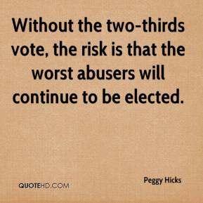 Peggy Hicks  - Without the two-thirds vote, the risk is that the worst abusers will continue to be elected.