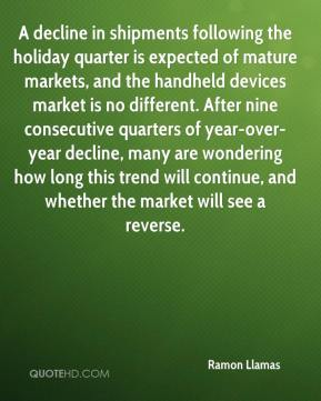 Ramon Llamas  - A decline in shipments following the holiday quarter is expected of mature markets, and the handheld devices market is no different. After nine consecutive quarters of year-over-year decline, many are wondering how long this trend will continue, and whether the market will see a reverse.