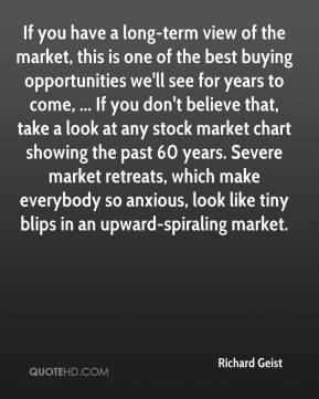 Richard Geist  - If you have a long-term view of the market, this is one of the best buying opportunities we'll see for years to come, ... If you don't believe that, take a look at any stock market chart showing the past 60 years. Severe market retreats, which make everybody so anxious, look like tiny blips in an upward-spiraling market.