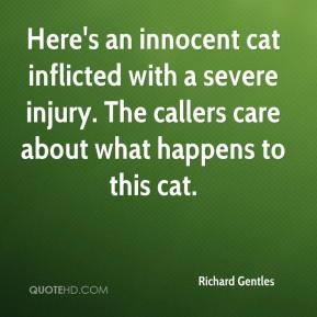 Richard Gentles  - Here's an innocent cat inflicted with a severe injury. The callers care about what happens to this cat.