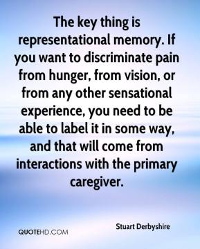 Stuart Derbyshire  - The key thing is representational memory. If you want to discriminate pain from hunger, from vision, or from any other sensational experience, you need to be able to label it in some way, and that will come from interactions with the primary caregiver.