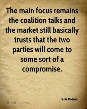 Tania Kotsos  - The main focus remains the coalition talks and the market still basically trusts that the two parties will come to some sort of a compromise.