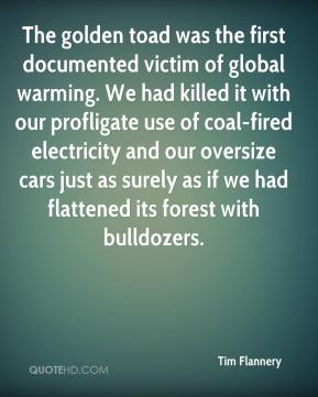 Tim Flannery  - The golden toad was the first documented victim of global warming. We had killed it with our profligate use of coal-fired electricity and our oversize cars just as surely as if we had flattened its forest with bulldozers.