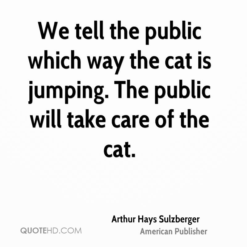 We tell the public which way the cat is jumping. The public will take care of the cat.