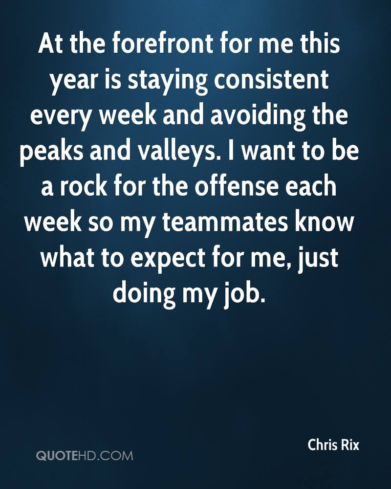 At the forefront for me this year is staying consistent every week and avoiding the peaks and valleys. I want to be a rock for the offense each week so my teammates know what to expect for me, just doing my job.