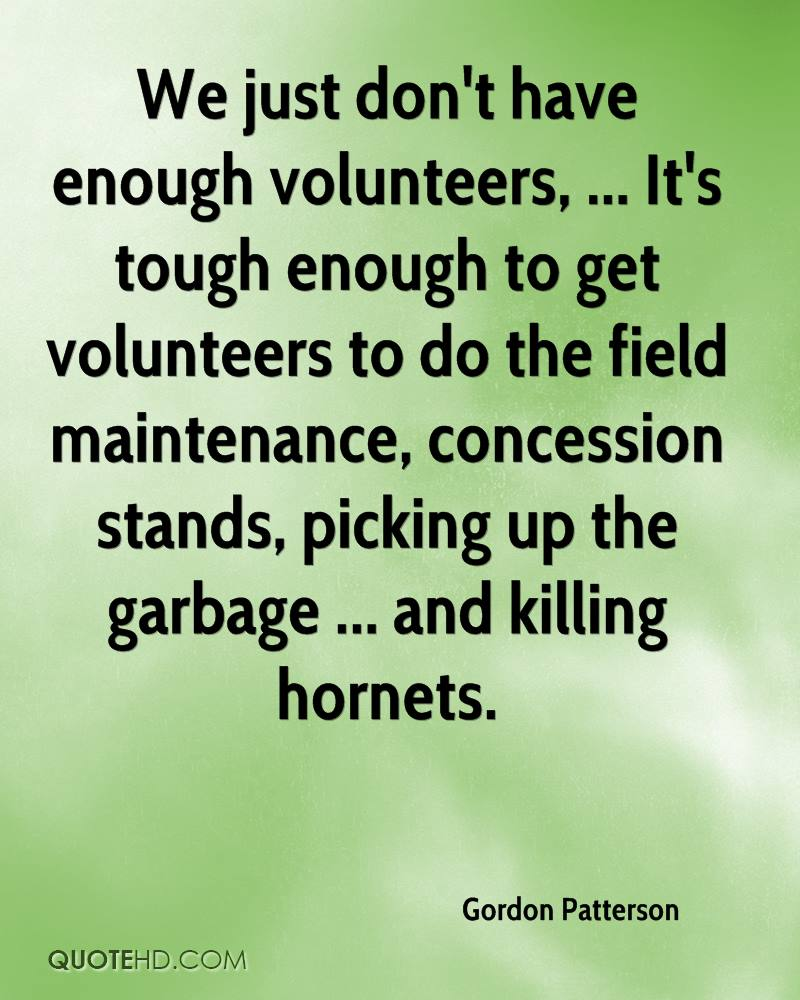 We just don't have enough volunteers, ... It's tough enough to get volunteers to do the field maintenance, concession stands, picking up the garbage ... and killing hornets.