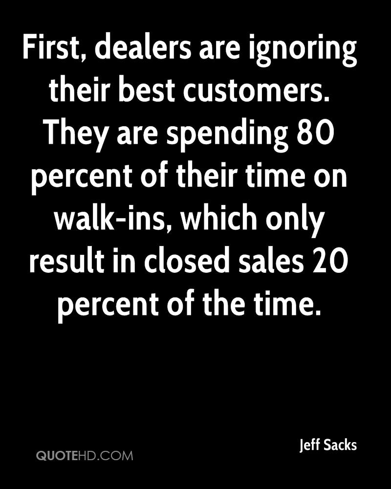 First, dealers are ignoring their best customers. They are spending 80 percent of their time on walk-ins, which only result in closed sales 20 percent of the time.