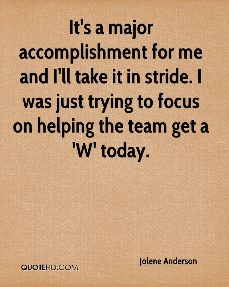 It's a major accomplishment for me and I'll take it in stride. I was just trying to focus on helping the team get a 'W' today.