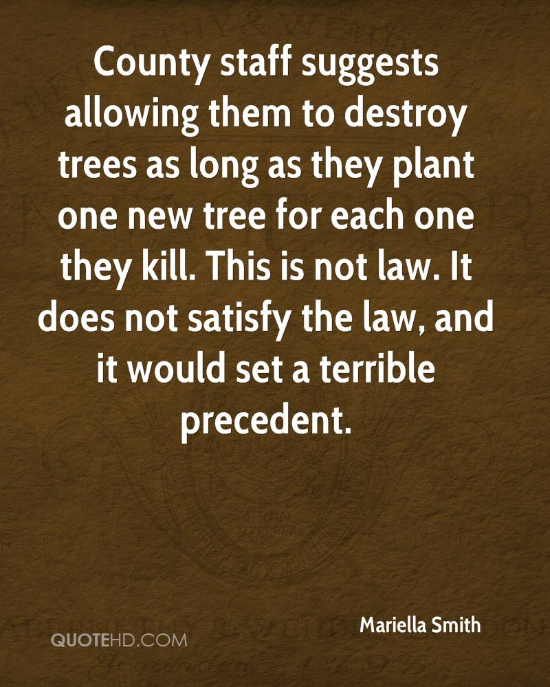County staff suggests allowing them to destroy trees as long as they plant one new tree for each one they kill. This is not law. It does not satisfy the law, and it would set a terrible precedent.