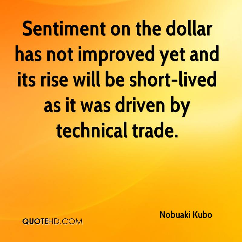 Sentiment on the dollar has not improved yet and its rise will be short-lived as it was driven by technical trade.