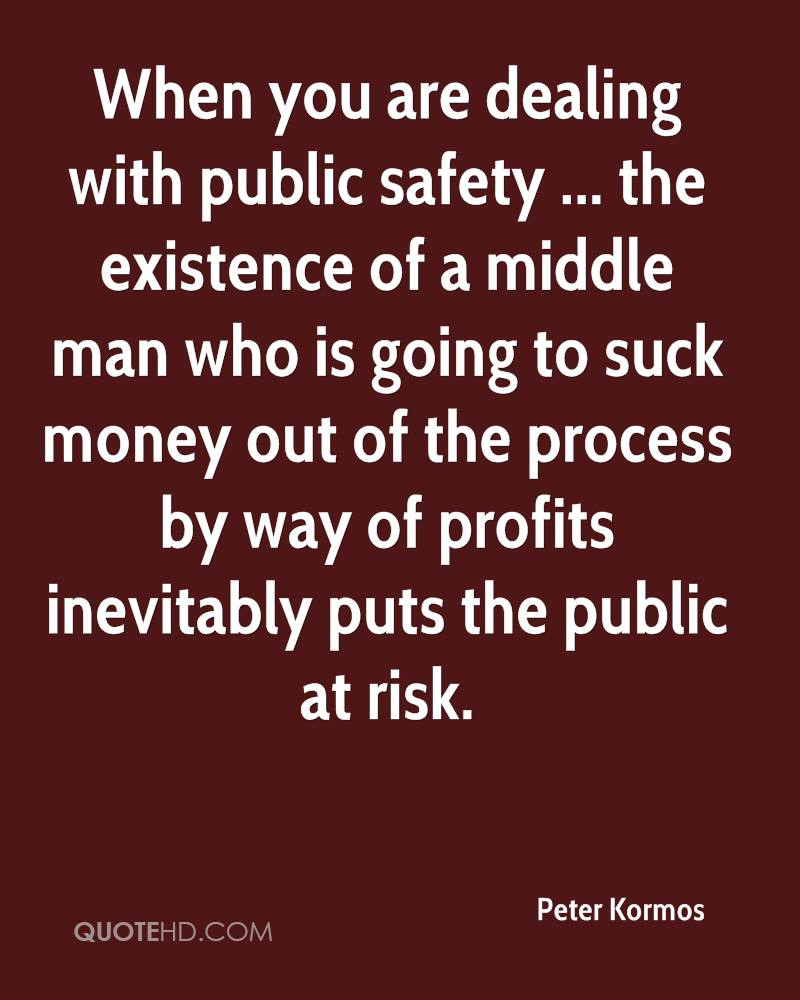 When you are dealing with public safety ... the existence of a middle man who is going to suck money out of the process by way of profits inevitably puts the public at risk.