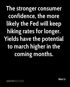 Alex Li - The stronger consumer confidence, the more likely the Fed will keep hiking rates for longer. Yields have the potential to march higher in the coming months.