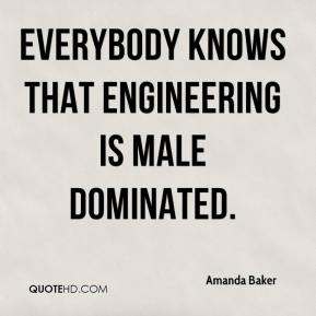 Amanda Baker - Everybody knows that engineering is male dominated.