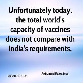 Anbumani Ramadoss - Unfortunately today, the total world's capacity of vaccines does not compare with India's requirements.