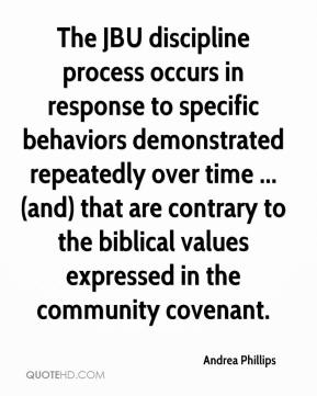Andrea Phillips - The JBU discipline process occurs in response to specific behaviors demonstrated repeatedly over time ... (and) that are contrary to the biblical values expressed in the community covenant.