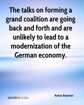 Anton Boerner - The talks on forming a grand coalition are going back and forth and are unlikely to lead to a modernization of the German economy.