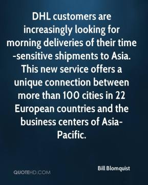 DHL customers are increasingly looking for morning deliveries of their time-sensitive shipments to Asia. This new service offers a unique connection between more than 100 cities in 22 European countries and the business centers of Asia-Pacific.