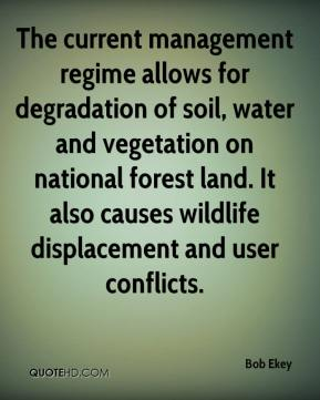 Bob Ekey - The current management regime allows for degradation of soil, water and vegetation on national forest land. It also causes wildlife displacement and user conflicts.