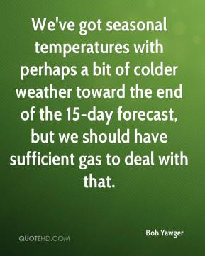 Bob Yawger - We've got seasonal temperatures with perhaps a bit of colder weather toward the end of the 15-day forecast, but we should have sufficient gas to deal with that.