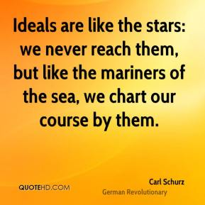 Carl Schurz - Ideals are like the stars: we never reach them, but like the mariners of the sea, we chart our course by them.